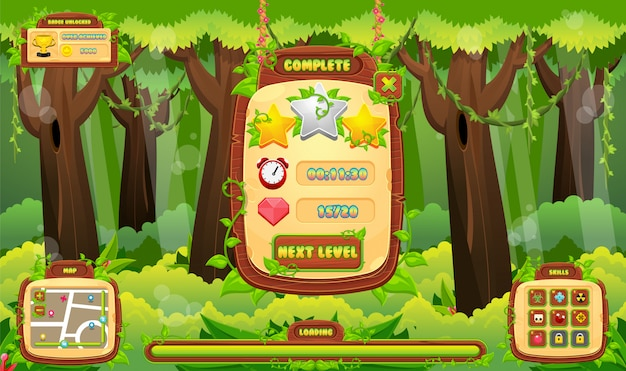 Jungle game gui Vettore Premium