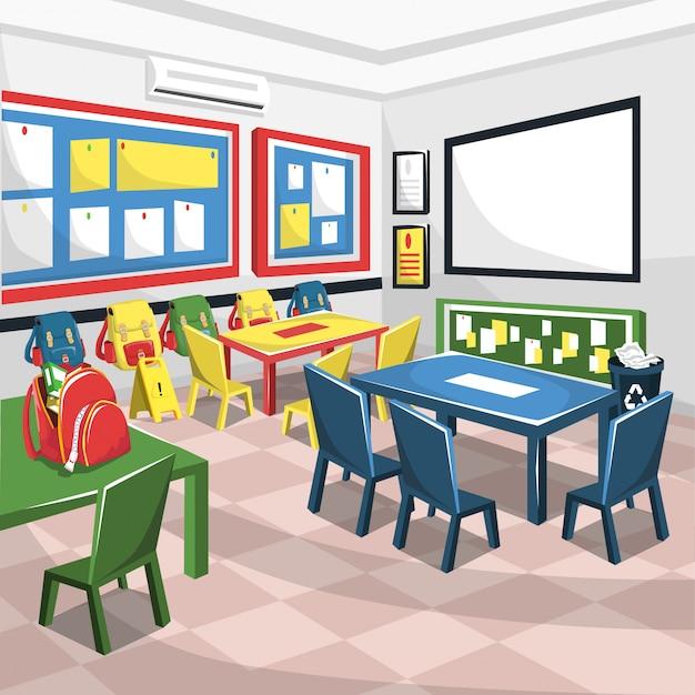 Junior school colorful classroom con lavagna bianca Vettore Premium