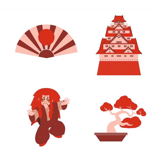 Kabuki giapponese impostato con castello e giocatore bonsai vettoriale Vettore Premium