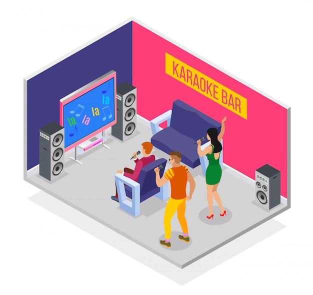 Karaoke isometrico con un gruppo di personaggi umani che hanno una festa nella sala karaoke con altoparlanti Vettore gratuito