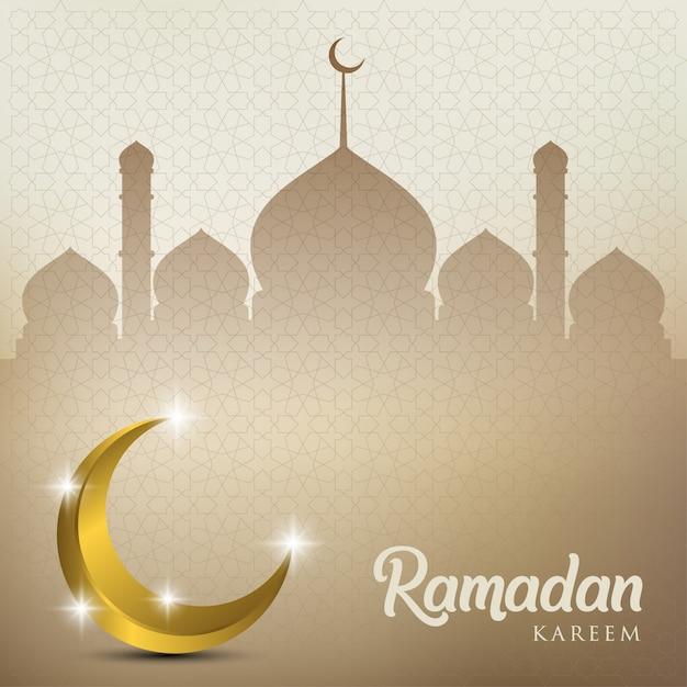 Kareem del ramadan con la cupola dorata della luna e della moschea Vettore Premium