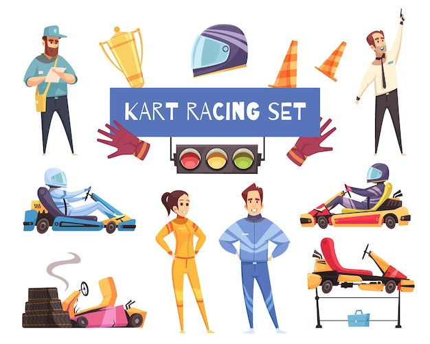 Karting sport set Vettore gratuito