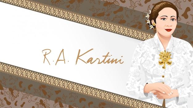 Kartini day, ra kartini gli eroi delle donne e dei diritti umani in indonesia Vettore Premium