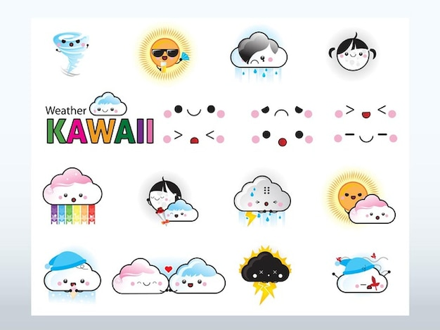 Kawaii cartoni animati meteo vettori icone scaricare