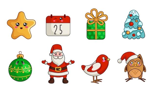 Kawaii christmas set di capodanno gufo, uccello, babbo natale, calendario, confezione regalo, albero di natale Vettore Premium