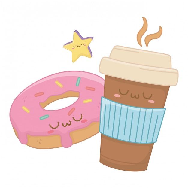 Kawaii del cartone animato tazza di caffè Vettore Premium