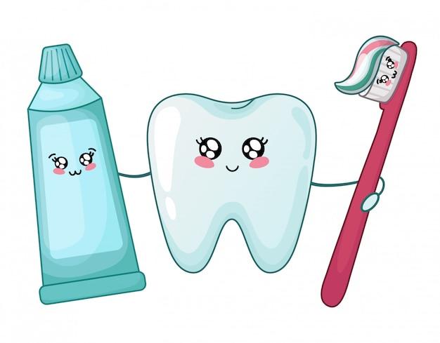 Kawaii dente sano e dentifricio e pennello Vettore Premium