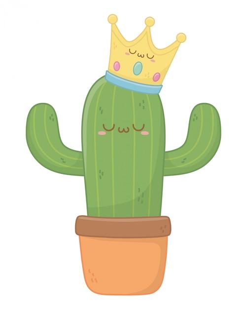 Kawaii di cactus cartoon Vettore Premium