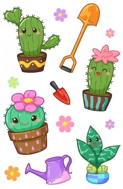 Kawaii di cactus Vettore Premium