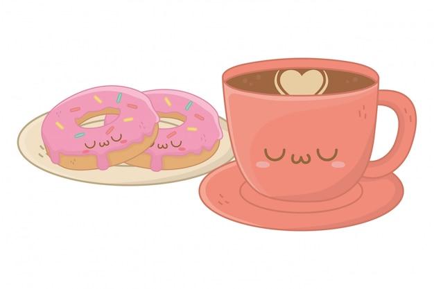 Kawaii di cartone animato tazza di caffè Vettore Premium