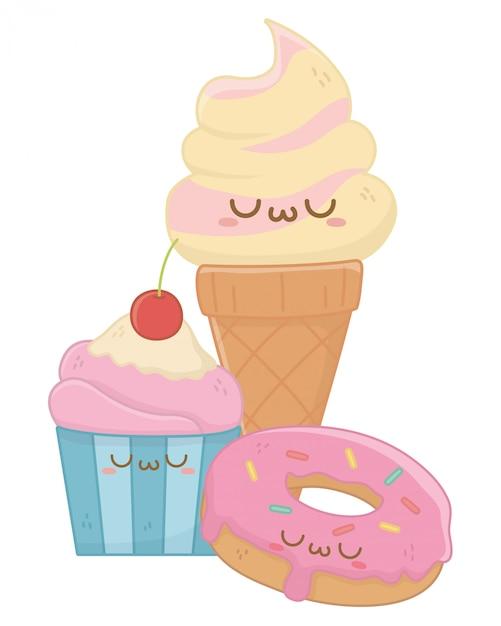 Kawaii di gelato cartoon Vettore Premium