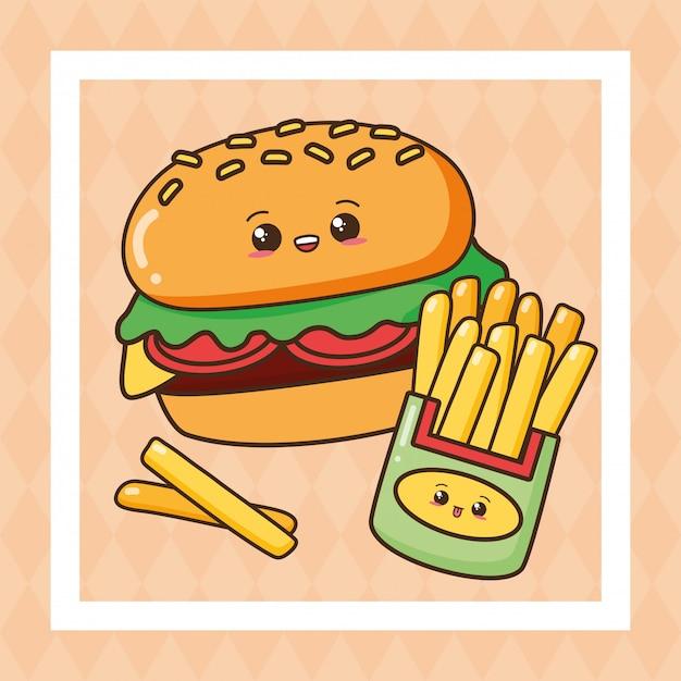 Kawaii fast food carino illustrazione fast food Vettore gratuito