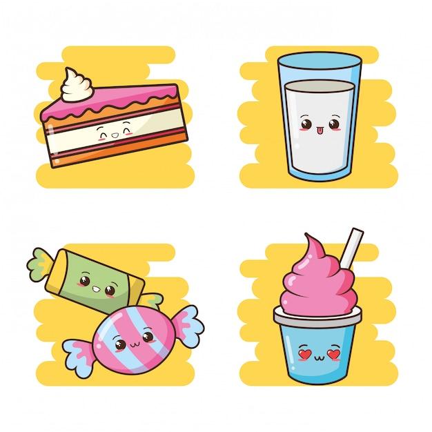 Kawaii fast food carino torta, caramelle, gelato, illustrazione di latte Vettore gratuito