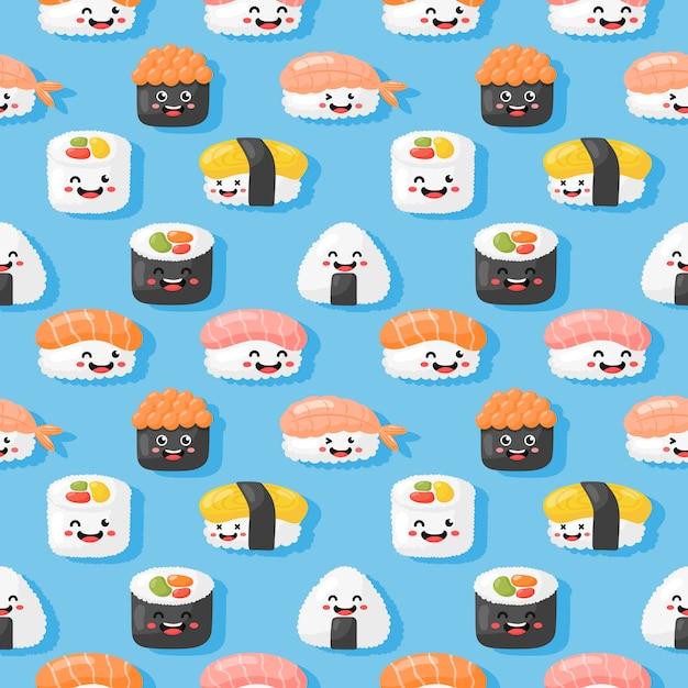 Kawaii seamless pattern carino divertente sushi e sashimi in stile cartone animato isolato. illustrazione vettoriale Vettore Premium