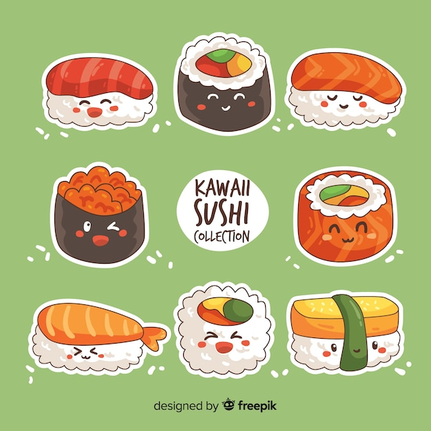 Kawaii sushi collectio Vettore gratuito