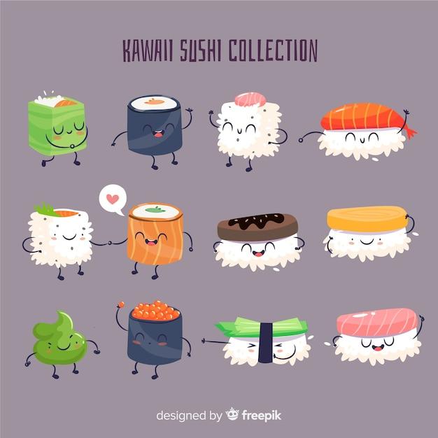 Kawaii sushi collectio Vettore gratuito