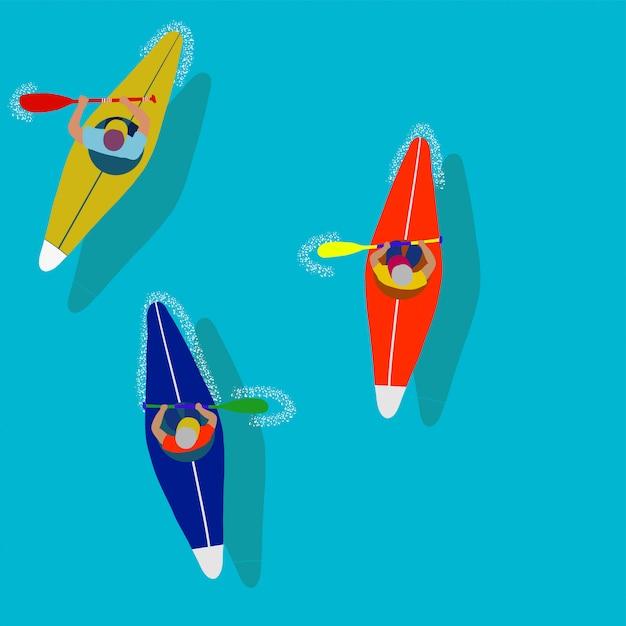 Kayak sport d'acqua. illustrazione di cartone animato piatto canottaggio in prima persona. Vettore Premium