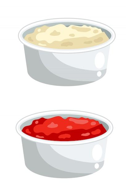 Ketchup e maionese in ciotole Vettore Premium