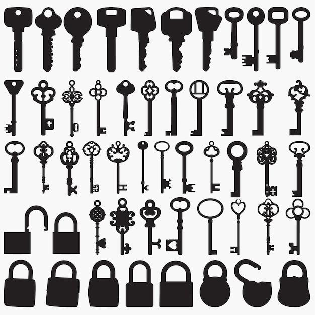 Keys silhouettes Vettore Premium