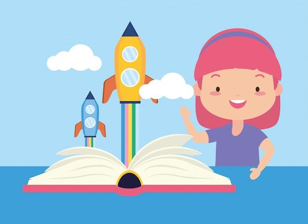 Kid nella giornata mondiale del libro Vettore gratuito