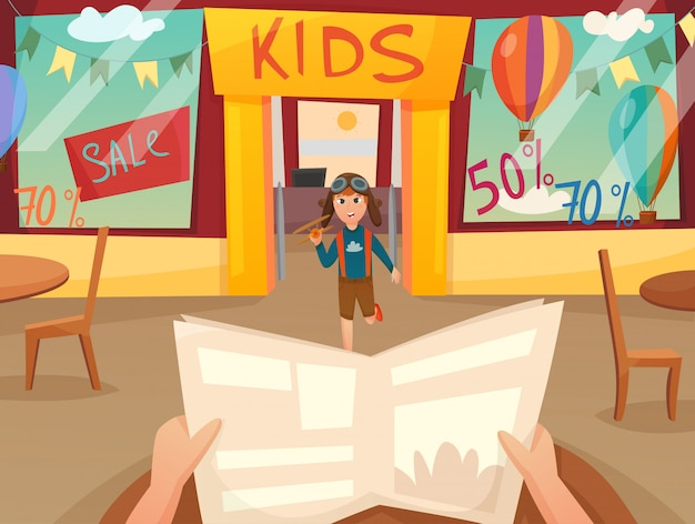 Kid running off composizione Vettore gratuito