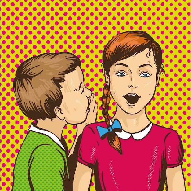 Kid sussurrando pettegolezzi o segreti al suo amico. i bambini si parlano Vettore Premium
