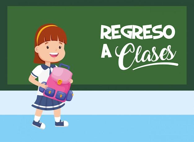 Kid torna a scuola Vettore gratuito