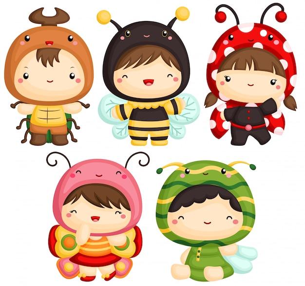 Kids in bugs cute costume Vettore Premium