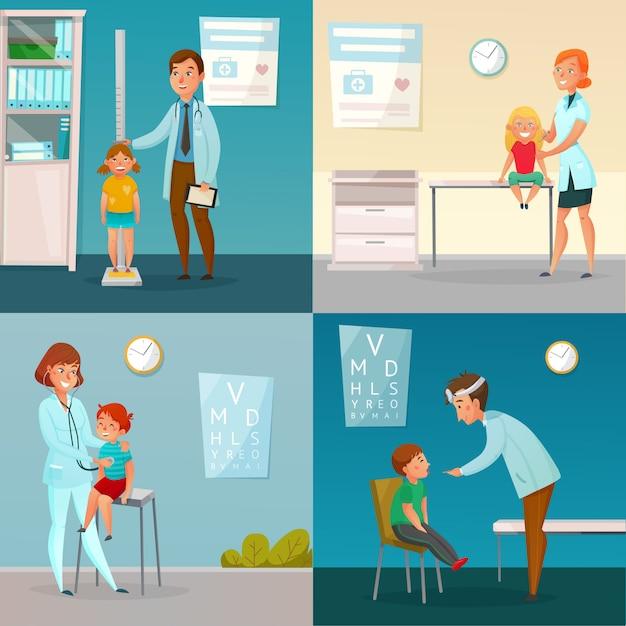 Kids visit doctors cartoon compositions Vettore gratuito