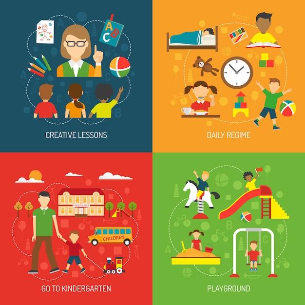 Kindergarten 2x2 concept Vettore gratuito