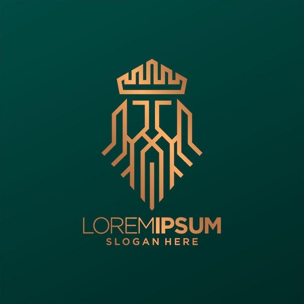 King crown line logo art Vettore Premium