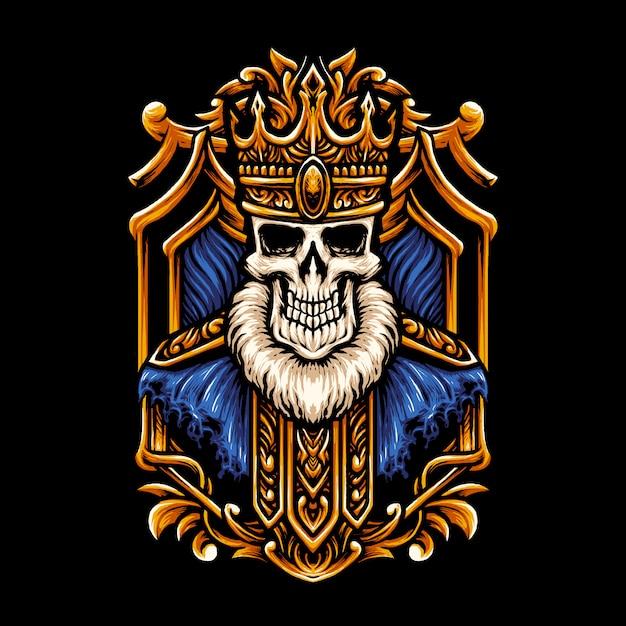 King skull head illustration Vettore Premium
