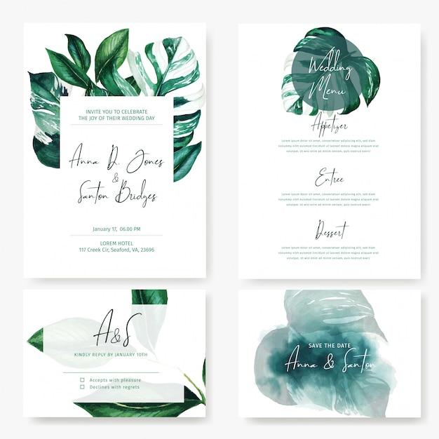 Kit di carte stazionarie di nozze con foglie di monstera Vettore Premium