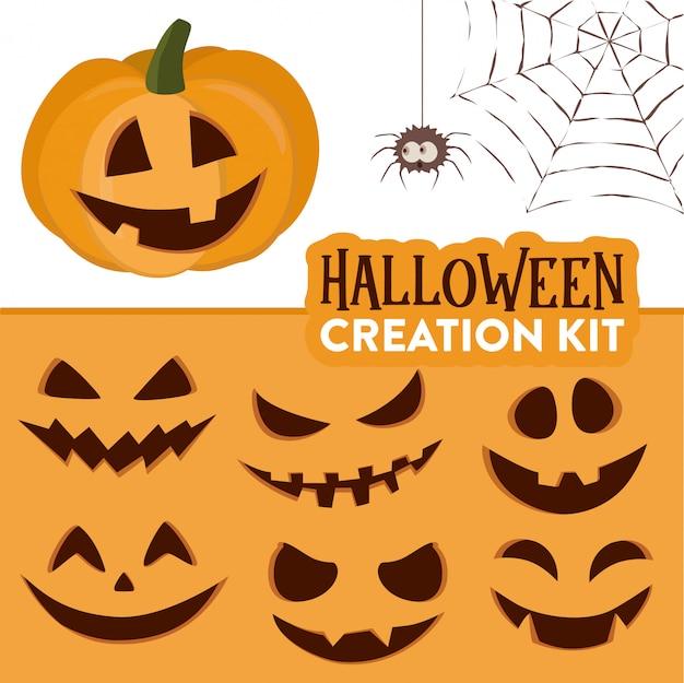 Kit di creazione della zucca di halloween della zucca sveglia del fumetto divertente Vettore Premium