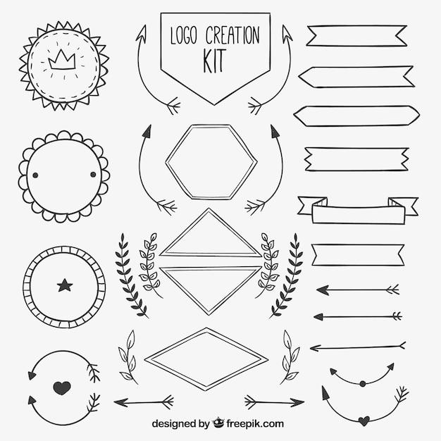 Kit di creazione logo in stile disegnato a mano for Kit per baule logati a mano