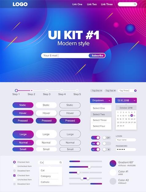 Kit di interfaccia utente per l'interfaccia utente del sito web kit per sito web pulsanti sito web gui Vettore Premium