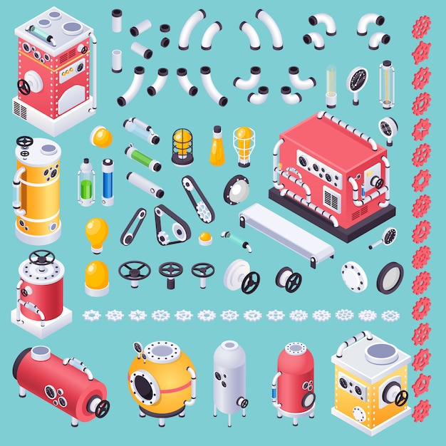 Kit di parti o pezzi di macchine steampunk per generatore di idee Vettore gratuito