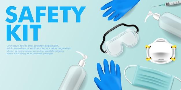 Kit medico corona covid virus e rimanere al sicuro kit medico sfondo modificabile campagna Vettore Premium