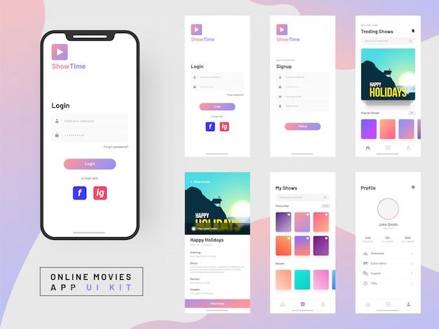 Kit ui app film online per applicazione mobile reattiva. Vettore Premium