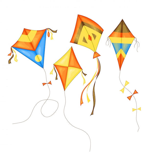 Kite set di colori diversi in stile cartoon isolato Vettore Premium