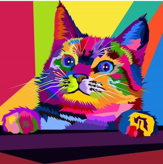 Kitten pop art portrait colorato Vettore Premium