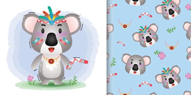 Koala carino con disegni e disegni senza soluzione di continuità in costume aborigeno Vettore Premium