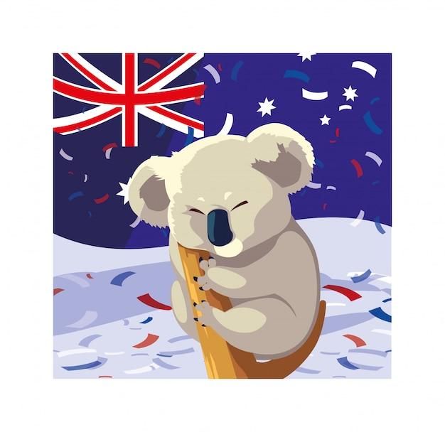 Koala con bandiera australia Vettore Premium