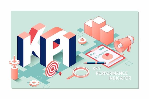 Kpi, concetto di business 3d isometrico indicatore chiave delle prestazioni Vettore Premium