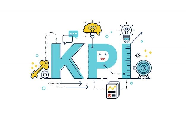 Kpi: illustrazione di disegno di tipografia dell'iscrizione di parola di indicatore di prestazione chiave Vettore Premium