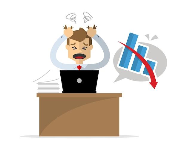 Lavoro Ufficio Clipart : L uomo d affari ha mal di testa a causa del suo lavoro infruttuoso