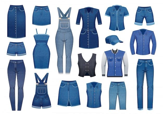 L'abbigliamento moderno del denim per gli uomini e le donne ha messo delle icone isolate su bianco Vettore gratuito
