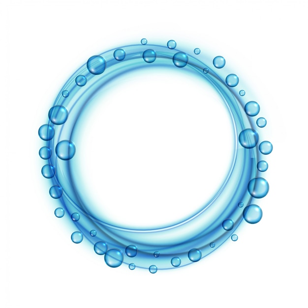 L'acqua del sapone bolle fondo blu della struttura Vettore gratuito