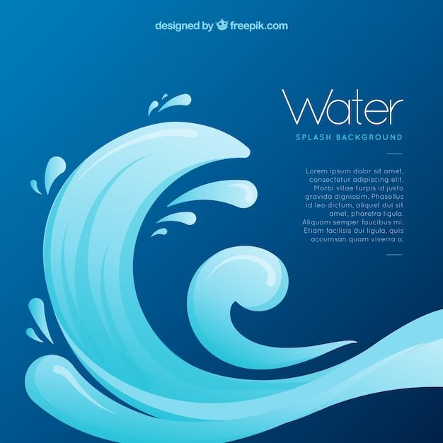 L'acqua spruzza lo sfondo in stile piano Vettore gratuito