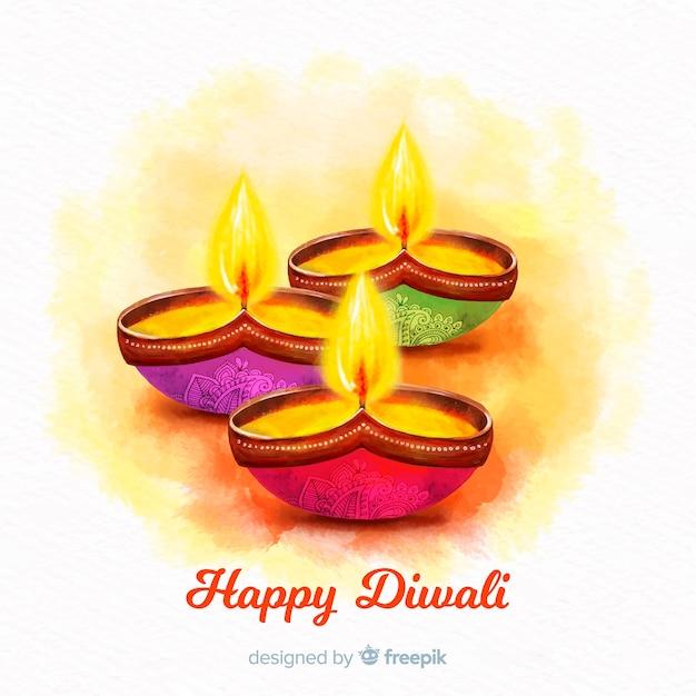L'acquerello di vista frontale esamina in controluce il fondo per il diwali Vettore gratuito
